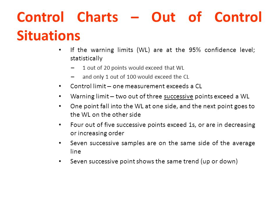 Control Charts – Out of Control Situations If the warning limits (WL) are at the 95% confidence level; statistically – 1 out of 20 points would exceed