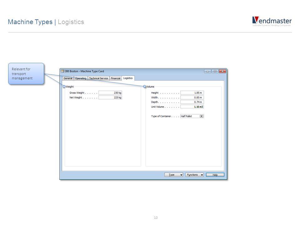 Relevant for transport management Machine Types   Logistics 10