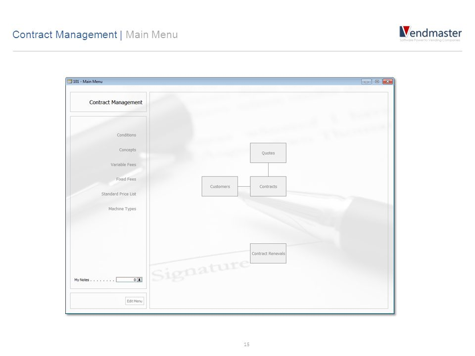 Contract Management | Main Menu 15