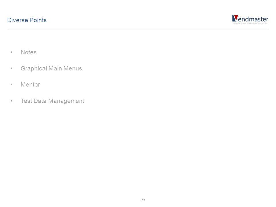 Notes Graphical Main Menus Mentor Test Data Management Diverse Points 57