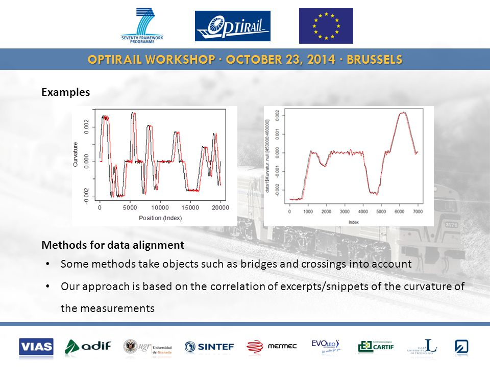 OPTIRAIL WORKSHOP · OCTOBER 23, 2014 · BRUSSELS Methods for data alignment Some methods take objects such as bridges and crossings into account Our approach is based on the correlation of excerpts/snippets of the curvature of the measurements Examples