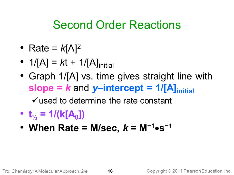 Copyright  2011 Pearson Education, Inc. Second Order Reactions Rate = k[A] 2 1/[A] = kt + 1/[A] initial Graph 1/[A] vs. time gives straight line with