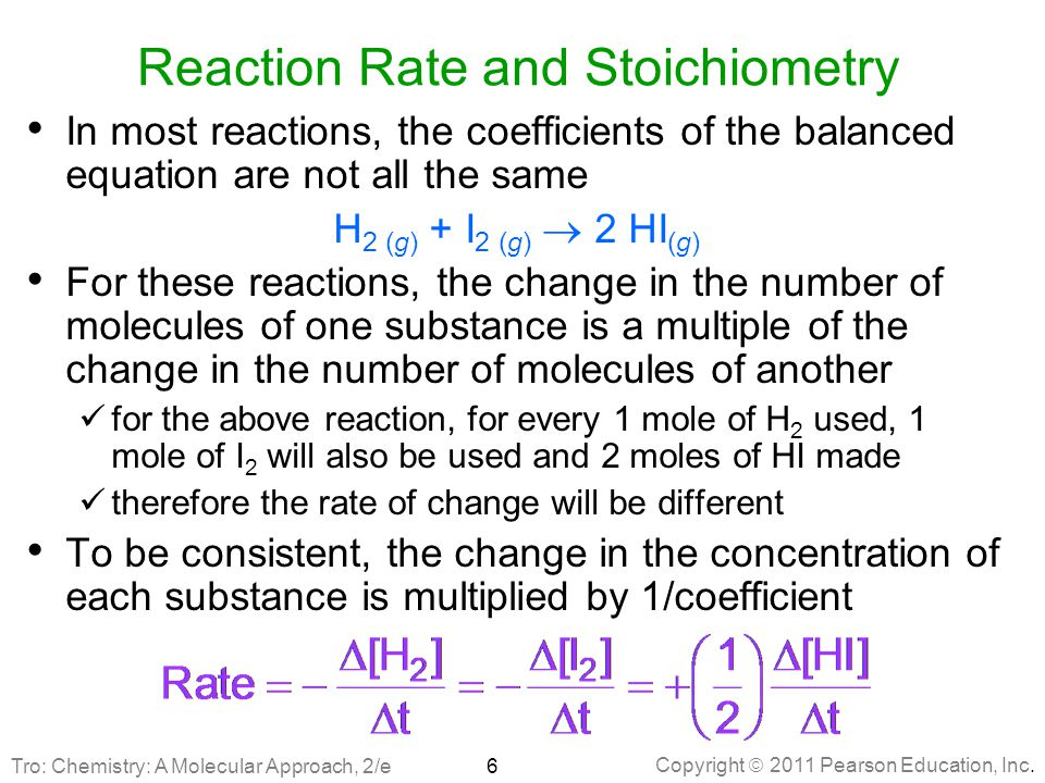 Copyright  2011 Pearson Education, Inc. Reaction Rate and Stoichiometry In most reactions, the coefficients of the balanced equation are not all the