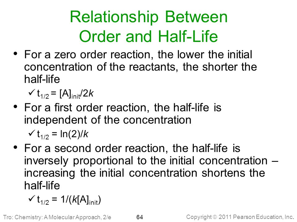 Copyright  2011 Pearson Education, Inc. Relationship Between Order and Half-Life For a zero order reaction, the lower the initial concentration of th