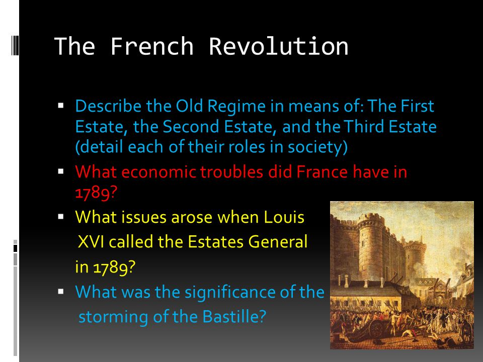 The French Revolution  Describe the Old Regime in means of: The First Estate, the Second Estate, and the Third Estate (detail each of their roles in
