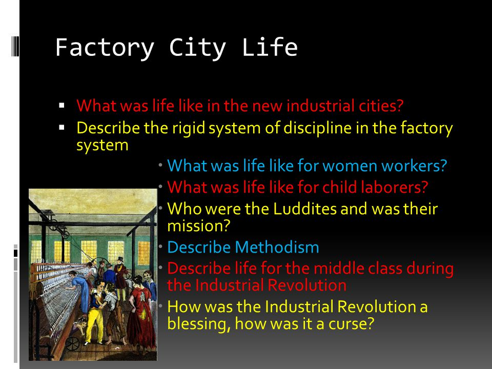 Factory City Life  What was life like in the new industrial cities?  Describe the rigid system of discipline in the factory system  What was life l