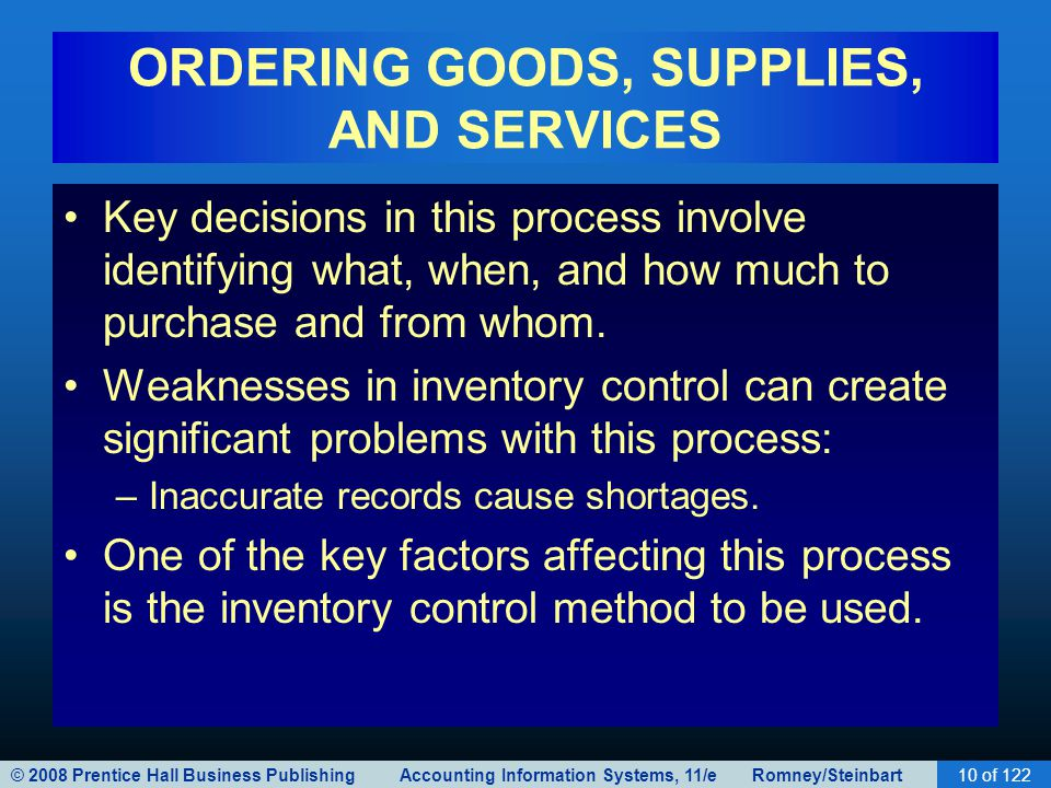© 2008 Prentice Hall Business Publishing Accounting Information Systems, 11/e Romney/Steinbart10 of 122 ORDERING GOODS, SUPPLIES, AND SERVICES Key dec