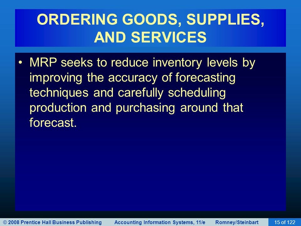 © 2008 Prentice Hall Business Publishing Accounting Information Systems, 11/e Romney/Steinbart15 of 122 ORDERING GOODS, SUPPLIES, AND SERVICES MRP see