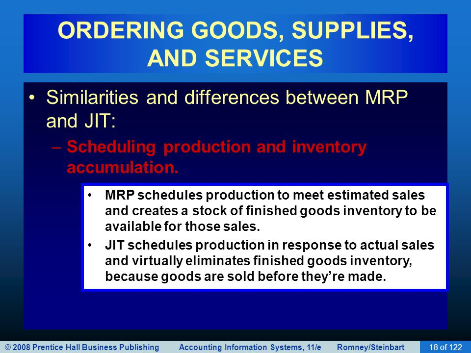 © 2008 Prentice Hall Business Publishing Accounting Information Systems, 11/e Romney/Steinbart18 of 122 ORDERING GOODS, SUPPLIES, AND SERVICES Similar