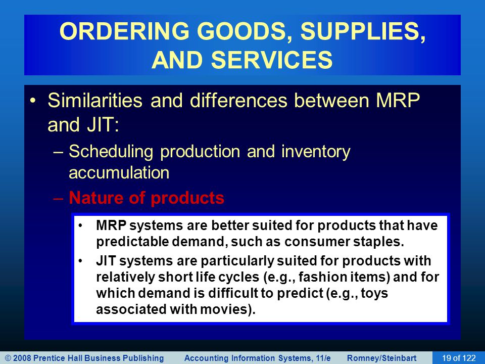 © 2008 Prentice Hall Business Publishing Accounting Information Systems, 11/e Romney/Steinbart19 of 122 ORDERING GOODS, SUPPLIES, AND SERVICES Similar