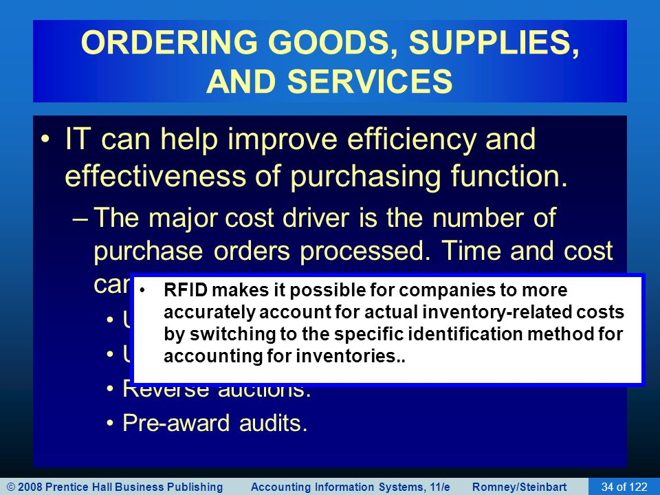 © 2008 Prentice Hall Business Publishing Accounting Information Systems, 11/e Romney/Steinbart34 of 122 ORDERING GOODS, SUPPLIES, AND SERVICES IT can
