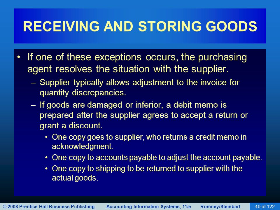 © 2008 Prentice Hall Business Publishing Accounting Information Systems, 11/e Romney/Steinbart40 of 122 RECEIVING AND STORING GOODS If one of these ex