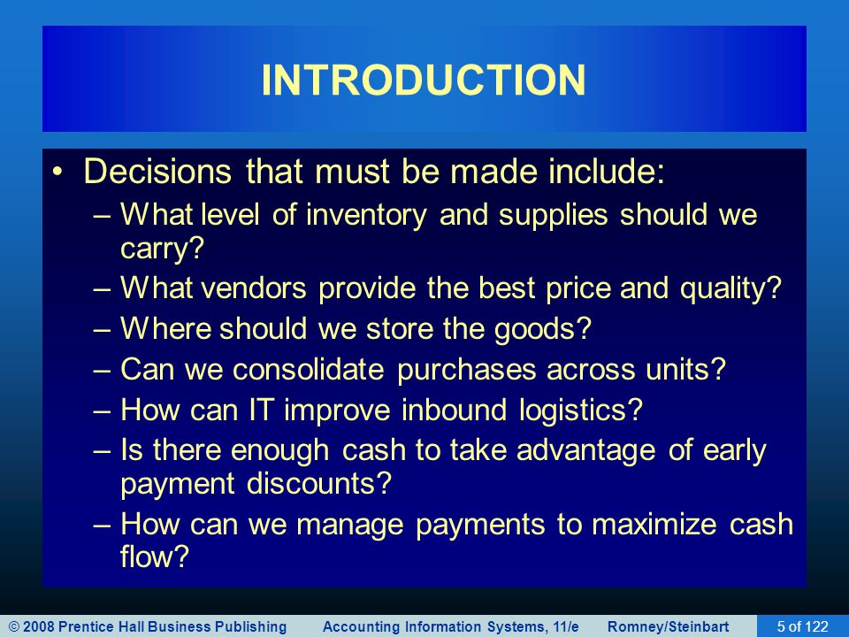 © 2008 Prentice Hall Business Publishing Accounting Information Systems, 11/e Romney/Steinbart5 of 122 INTRODUCTION Decisions that must be made includ
