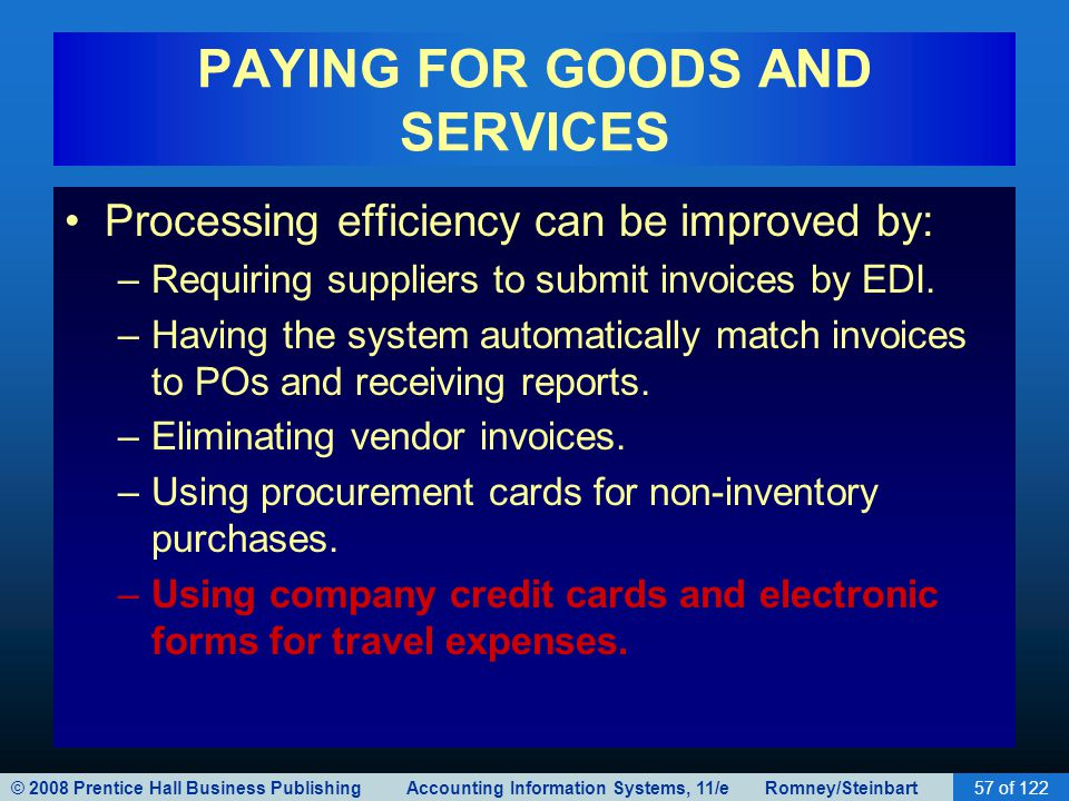 © 2008 Prentice Hall Business Publishing Accounting Information Systems, 11/e Romney/Steinbart57 of 122 PAYING FOR GOODS AND SERVICES Processing effic