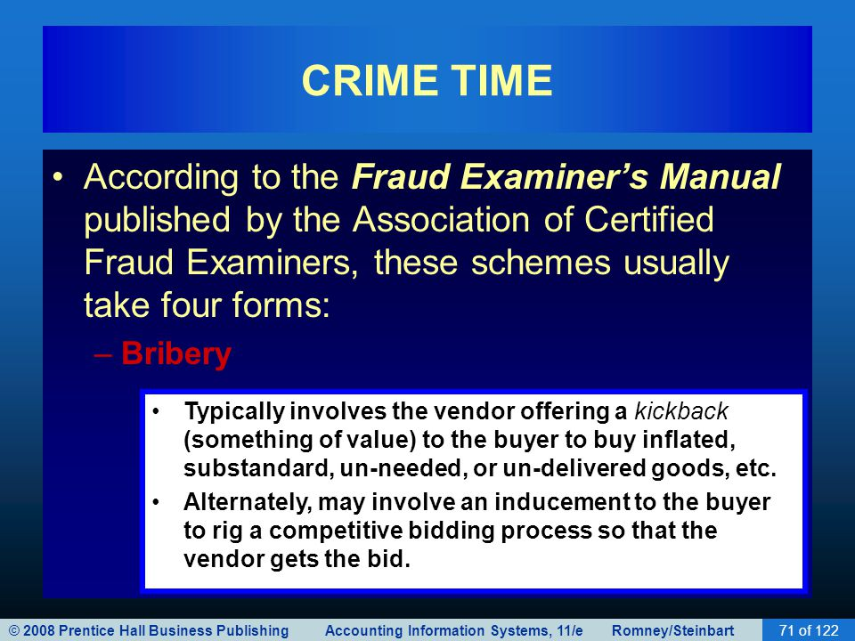© 2008 Prentice Hall Business Publishing Accounting Information Systems, 11/e Romney/Steinbart71 of 122 CRIME TIME According to the Fraud Examiner's M