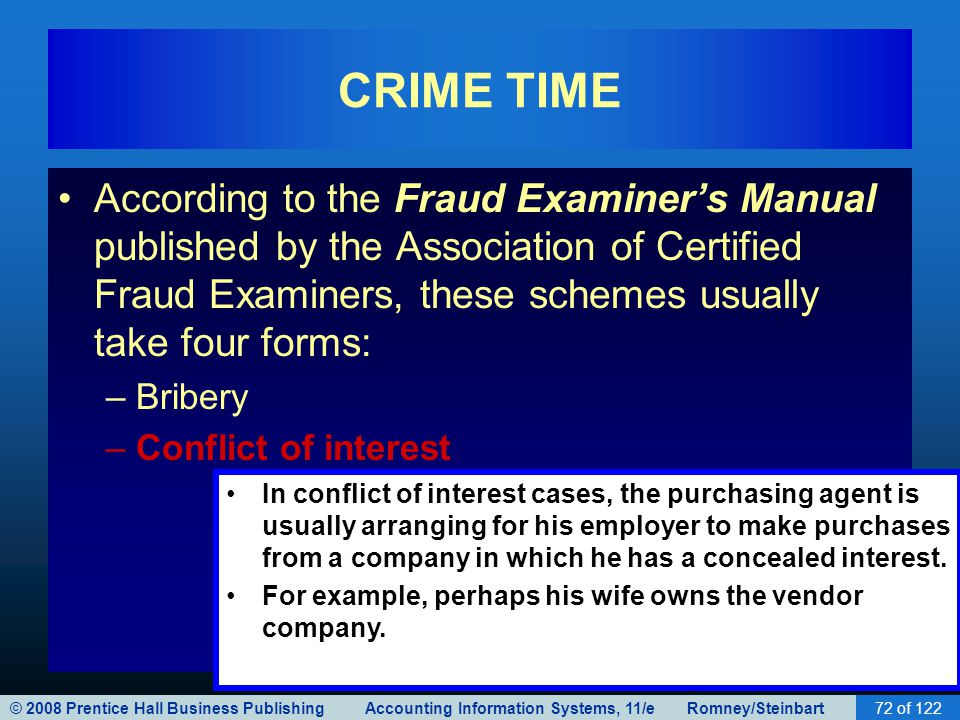© 2008 Prentice Hall Business Publishing Accounting Information Systems, 11/e Romney/Steinbart72 of 122 CRIME TIME According to the Fraud Examiner's M