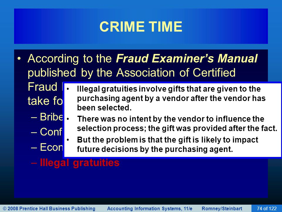 © 2008 Prentice Hall Business Publishing Accounting Information Systems, 11/e Romney/Steinbart74 of 122 CRIME TIME According to the Fraud Examiner's M