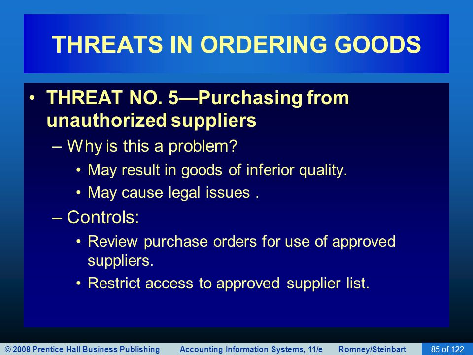 © 2008 Prentice Hall Business Publishing Accounting Information Systems, 11/e Romney/Steinbart85 of 122 THREATS IN ORDERING GOODS THREAT NO. 5—Purchas