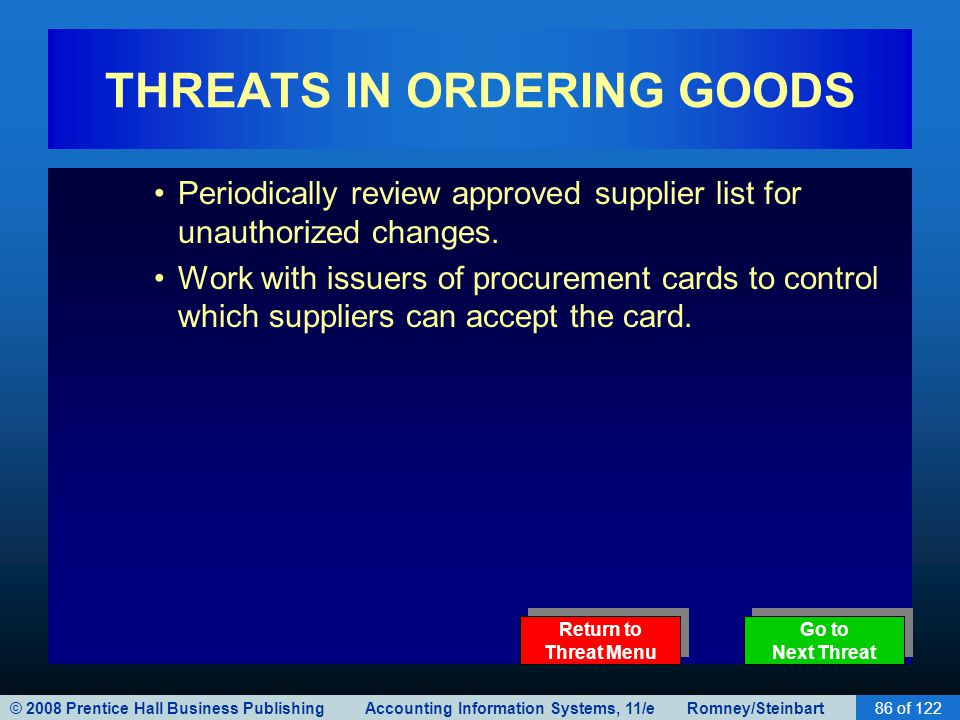 © 2008 Prentice Hall Business Publishing Accounting Information Systems, 11/e Romney/Steinbart86 of 122 THREATS IN ORDERING GOODS Periodically review