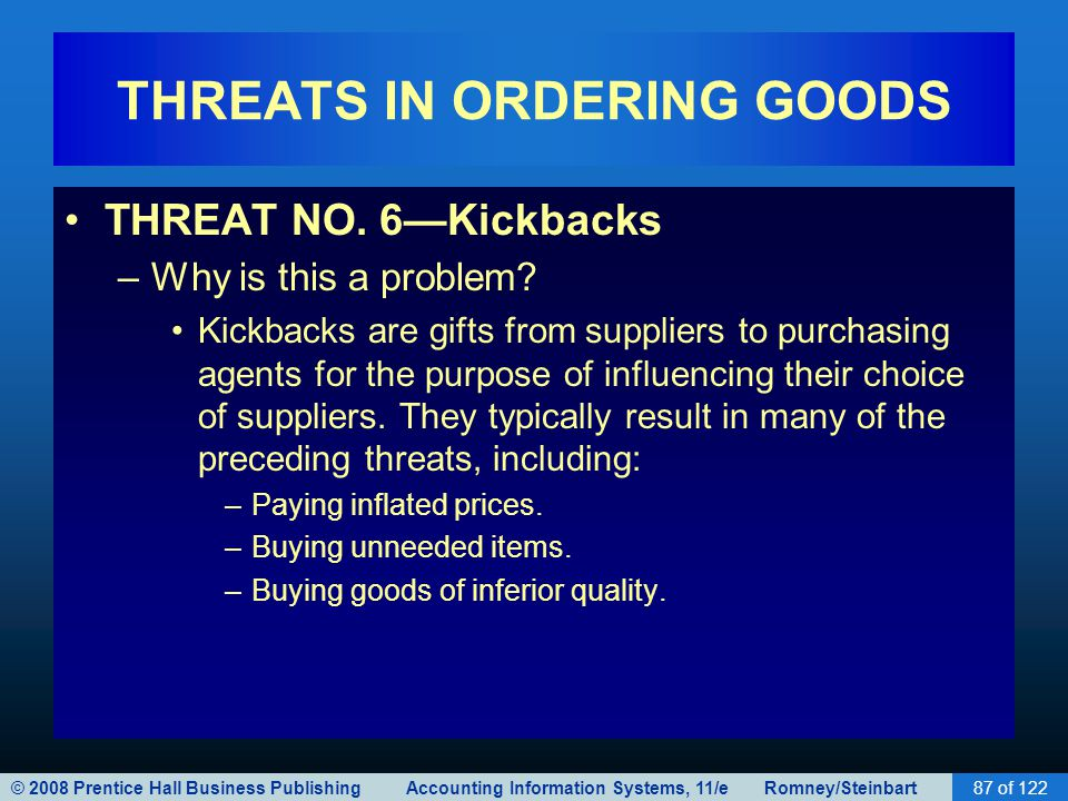 © 2008 Prentice Hall Business Publishing Accounting Information Systems, 11/e Romney/Steinbart87 of 122 THREATS IN ORDERING GOODS THREAT NO. 6—Kickbac