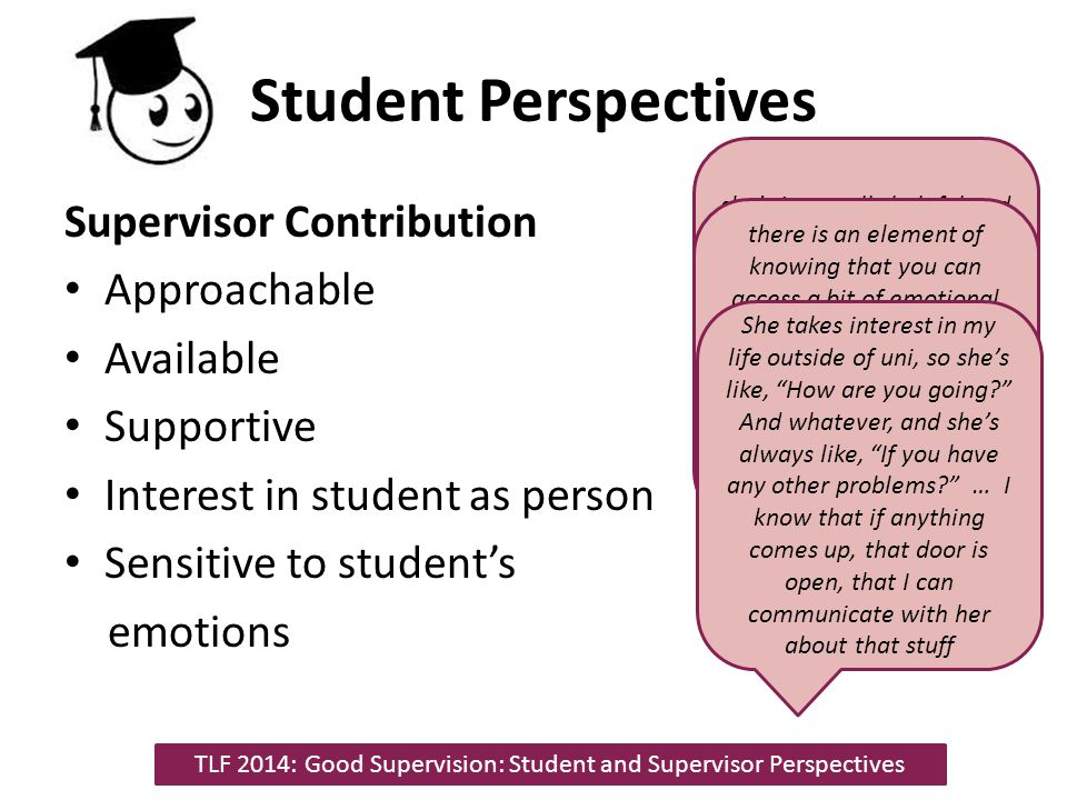 Student Perspectives Student Contribution Coming prepared Taking ownership of project 'Managing' supervision process TLF 2014: Good Supervision: Student and Supervisor Perspectives I had everything planned, had questions and they all got answered and addressed in the session, so that was good because I could progress as I wanted to and most of those questions were addressed where needed I can truly say that my research, this current project, is my own.