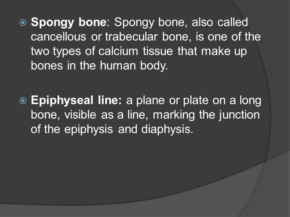  Spongy bone: Spongy bone, also called cancellous or trabecular bone, is one of the two types of calcium tissue that make up bones in the human body.