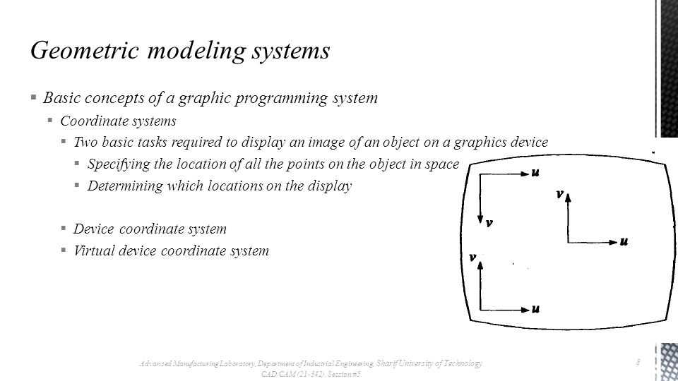  Basic concepts of a graphic programming system  Coordinate systems  Two basic tasks required to display an image of an object on a graphics device  Specifying the location of all the points on the object in space  Determining which locations on the display  Device coordinate system  Virtual device coordinate system Advanced Manufacturing Laboratory, Department of Industrial Engineering, Sharif University of Technology CAD/CAM (21-342), Session #5 8