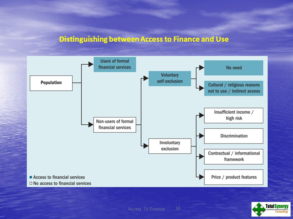 16 Distinguishing between Access to Finance and Use Access To Finance