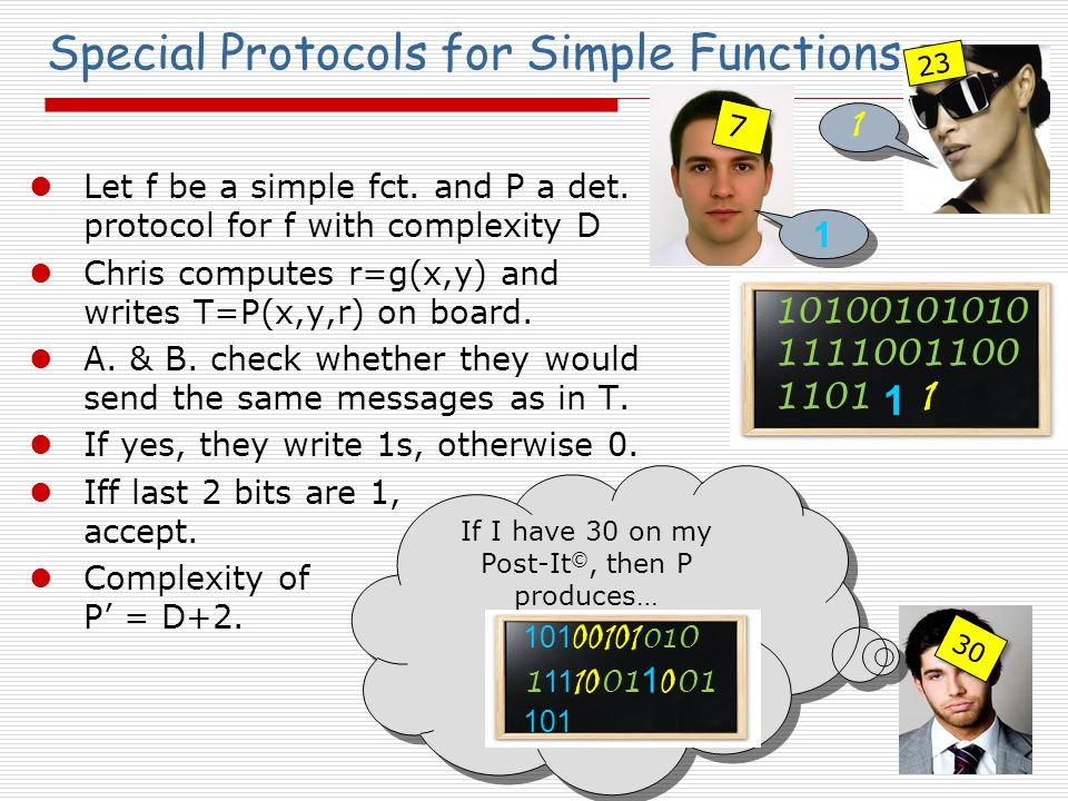 7 7 Special Protocols for Simple Functions Let f be a simple fct.