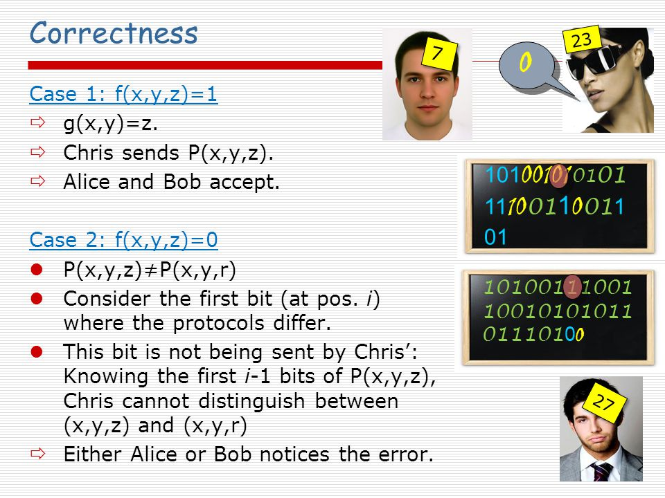 Correctness Case 1: f(x,y,z)=1  g(x,y)=z.  Chris sends P(x,y,z).