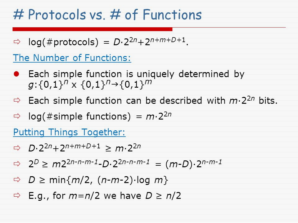 # Protocols vs. # of Functions  log(#protocols) = D·2 2n +2 n+m+D+1.