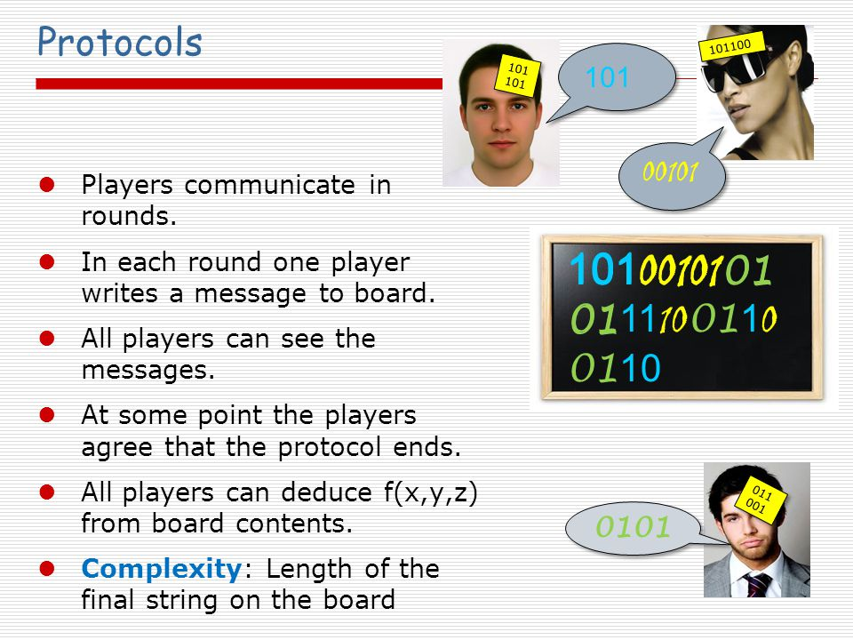 Randomization Randomized Protocols: Each player can use a random source Private Coin / Public Coin 011 001 101100 101101 101 00101 01 01 11 10 01 1 0 01 10