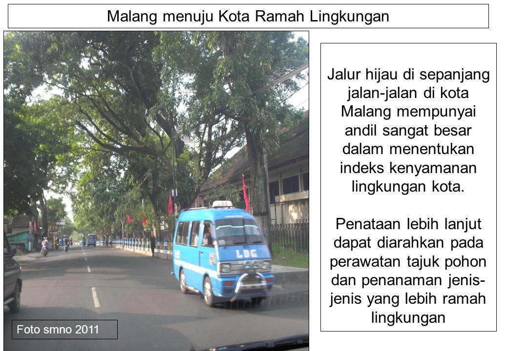 Malang menuju Kota Ramah Lingkungan Jalur hijau di sepanjang jalan-jalan di kota Malang mempunyai andil sangat besar dalam menentukan indeks kenyamanan lingkungan kota.