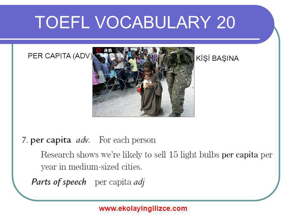 www.ekolayingilizce.com TOEFL VOCABULARY 20 PER CAPITA (ADV) KİŞİ BAŞINA