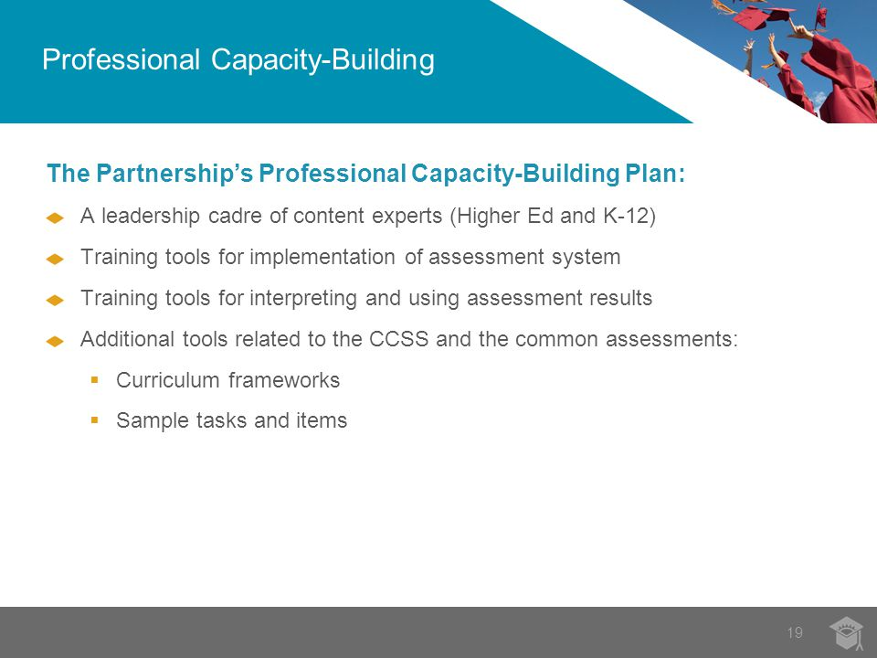 19 The Partnership's Professional Capacity-Building Plan: A leadership cadre of content experts (Higher Ed and K-12) Training tools for implementation of assessment system Training tools for interpreting and using assessment results Additional tools related to the CCSS and the common assessments:  Curriculum frameworks  Sample tasks and items Professional Capacity-Building