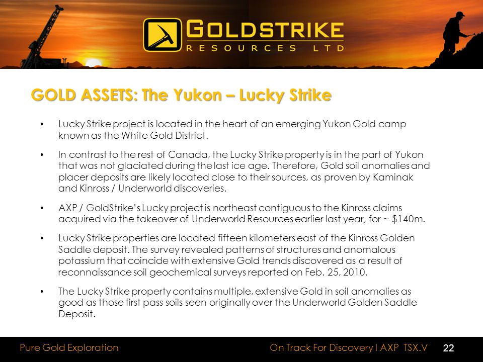 On Track For Discovery I AXP TSX.V Pure Gold Exploration Lucky Strike project is located in the heart of an emerging Yukon Gold camp known as the White Gold District.