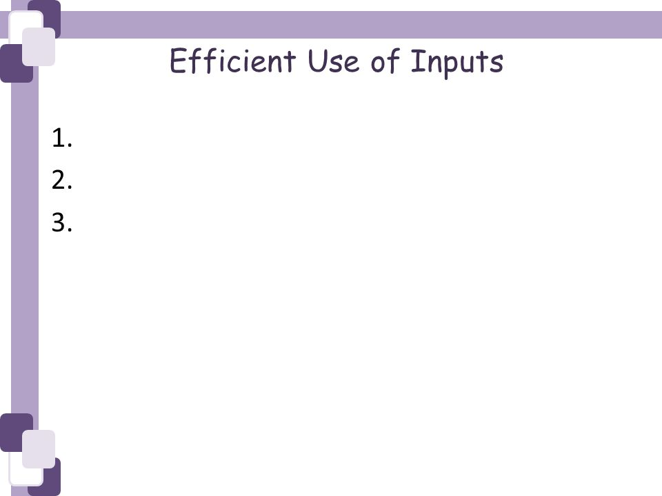 Efficient Use of Inputs 1. 2. 3.