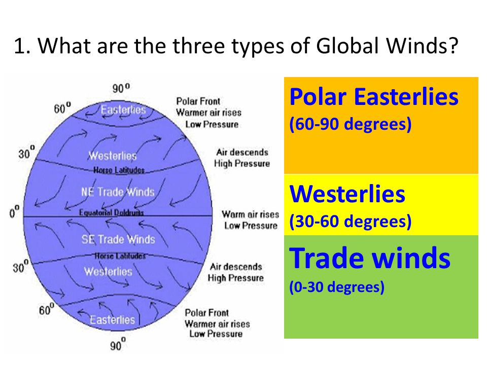 1. What are the three types of Global Winds? Polar Easterlies (60-90 degrees) Trade winds (0-30 degrees) Westerlies (30-60 degrees)