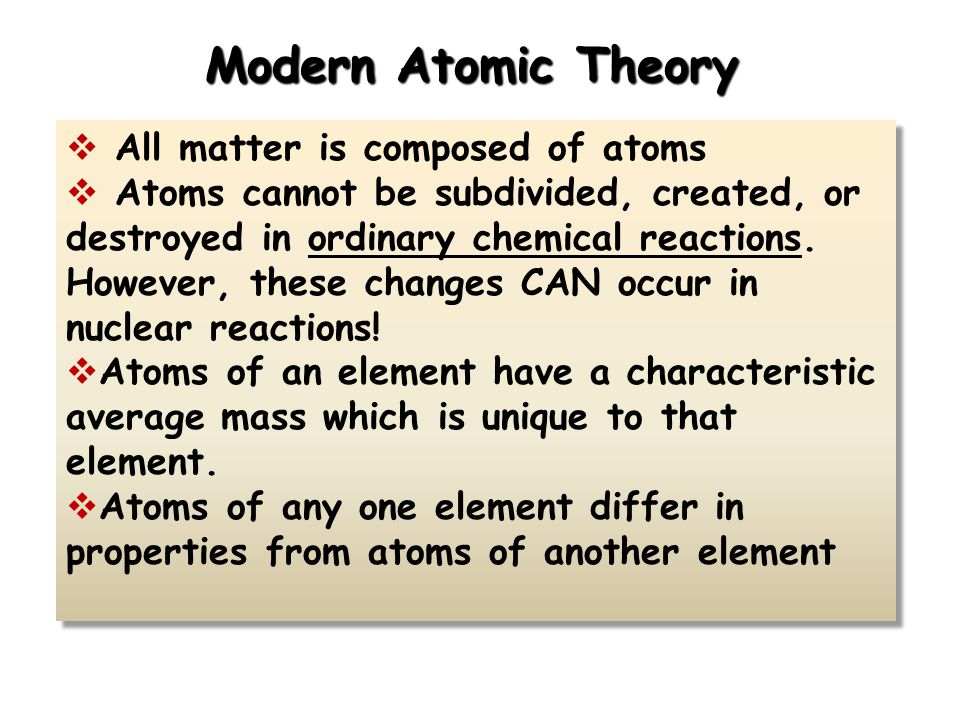 Modern Atomic Theory  All matter is composed of atoms  Atoms cannot be subdivided, created, or destroyed in ordinary chemical reactions. However, th