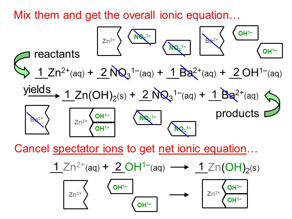 Mix them and get the overall ionic equation… __Zn 2+ (aq) + __NO 3 1– (aq) + __Ba 2+ (aq) + __OH 1– (aq) __Zn(OH) 2 (s) + __NO 3 1– (aq) + __Ba 2+ (aq) yields reactants products Cancel spectator ions to get net ionic equation… __Zn(OH) 2 (s) 1 1212 121 Zn 2+ NO 3 1– OH 1– NO 3 1– __Zn 2+ (aq) + __OH 1– (aq) 12 Zn 2+ OH 1– Ba 2+ Zn 2+ OH 1– Zn 2+ OH 1–
