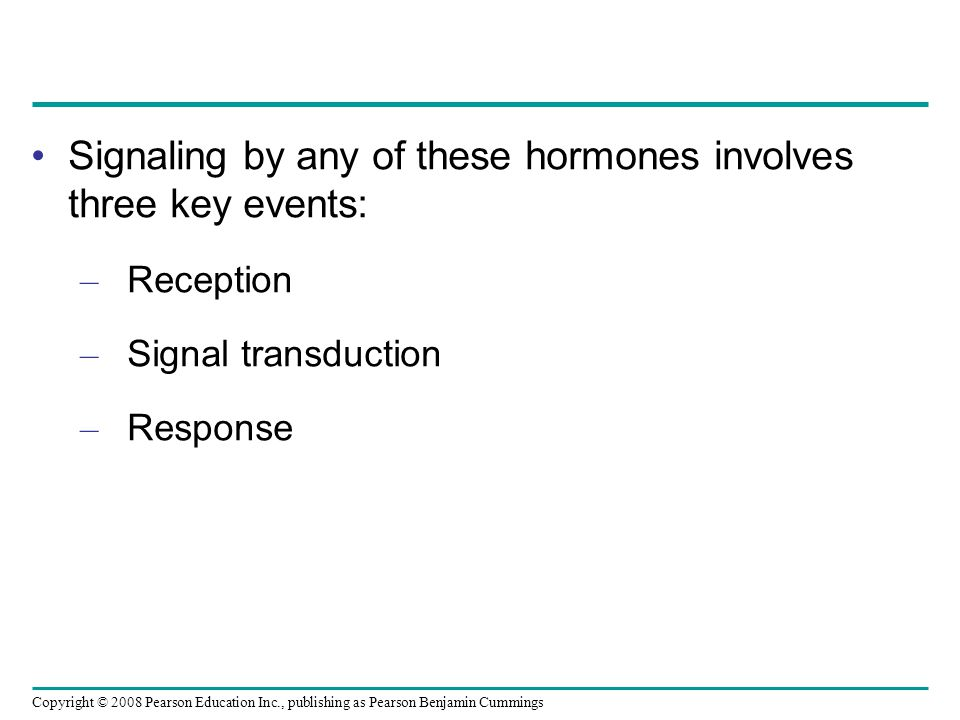 Copyright © 2008 Pearson Education Inc., publishing as Pearson Benjamin Cummings Signaling by any of these hormones involves three key events: – Reception – Signal transduction – Response