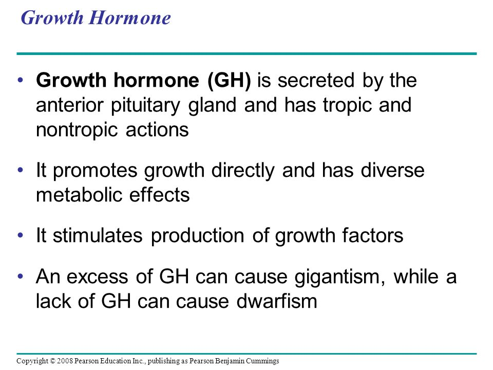 Copyright © 2008 Pearson Education Inc., publishing as Pearson Benjamin Cummings Growth Hormone Growth hormone (GH) is secreted by the anterior pituitary gland and has tropic and nontropic actions It promotes growth directly and has diverse metabolic effects It stimulates production of growth factors An excess of GH can cause gigantism, while a lack of GH can cause dwarfism