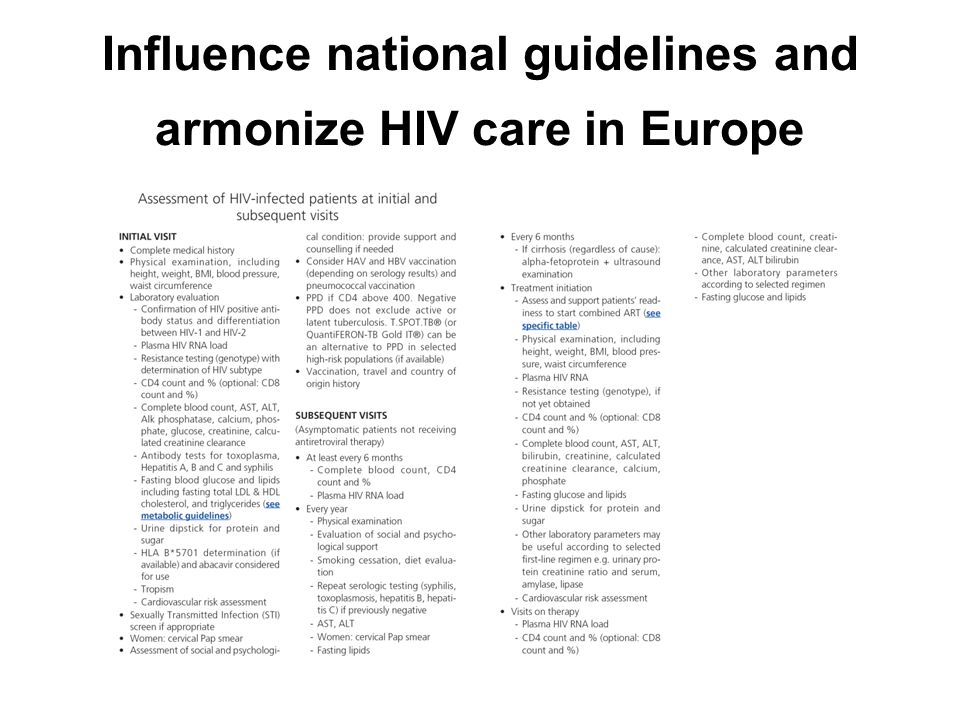 Influence national guidelines and armonize HIV care in Europe