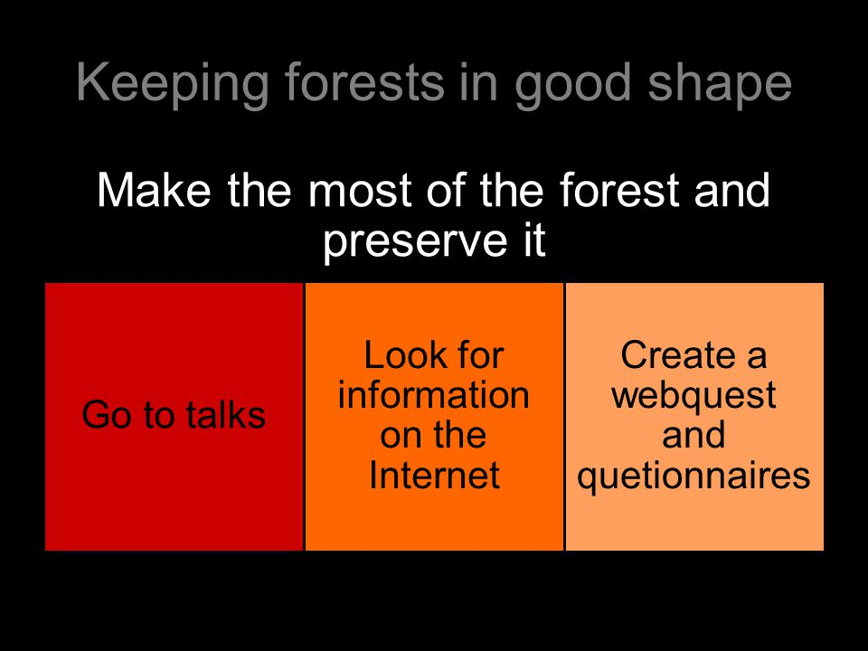 Keeping forests in good shape Make the most of the forest and preserve it Go to talks Look for information on the Internet Create a webquest and quetionnaires