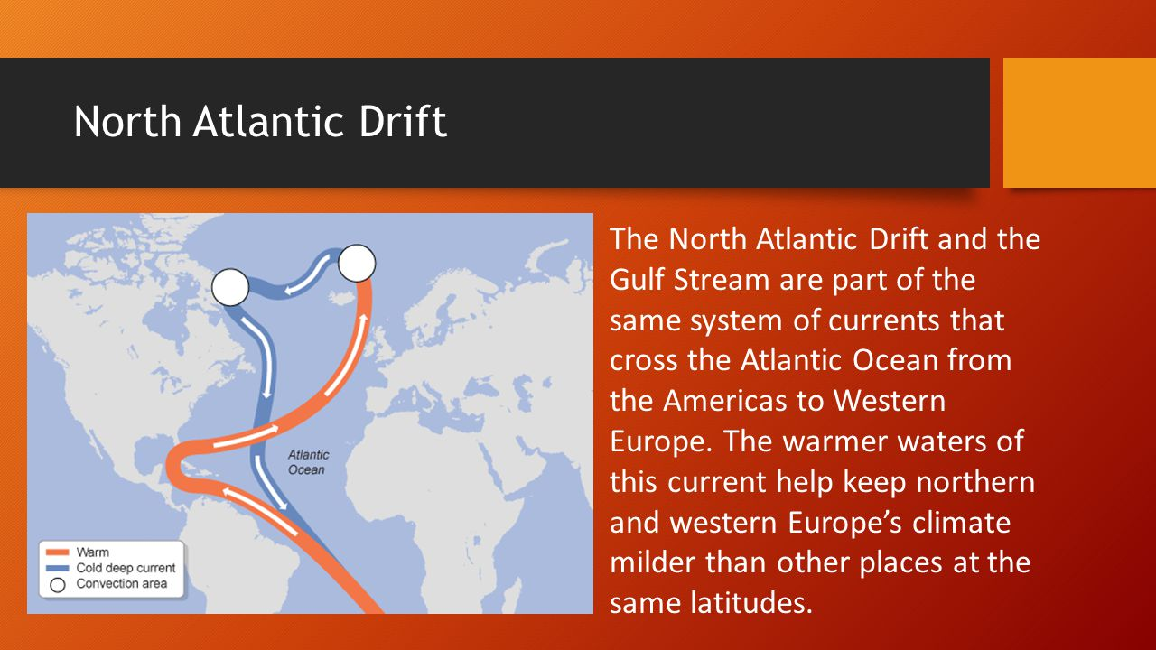 North Atlantic Drift The North Atlantic Drift and the Gulf Stream are part of the same system of currents that cross the Atlantic Ocean from the Ameri