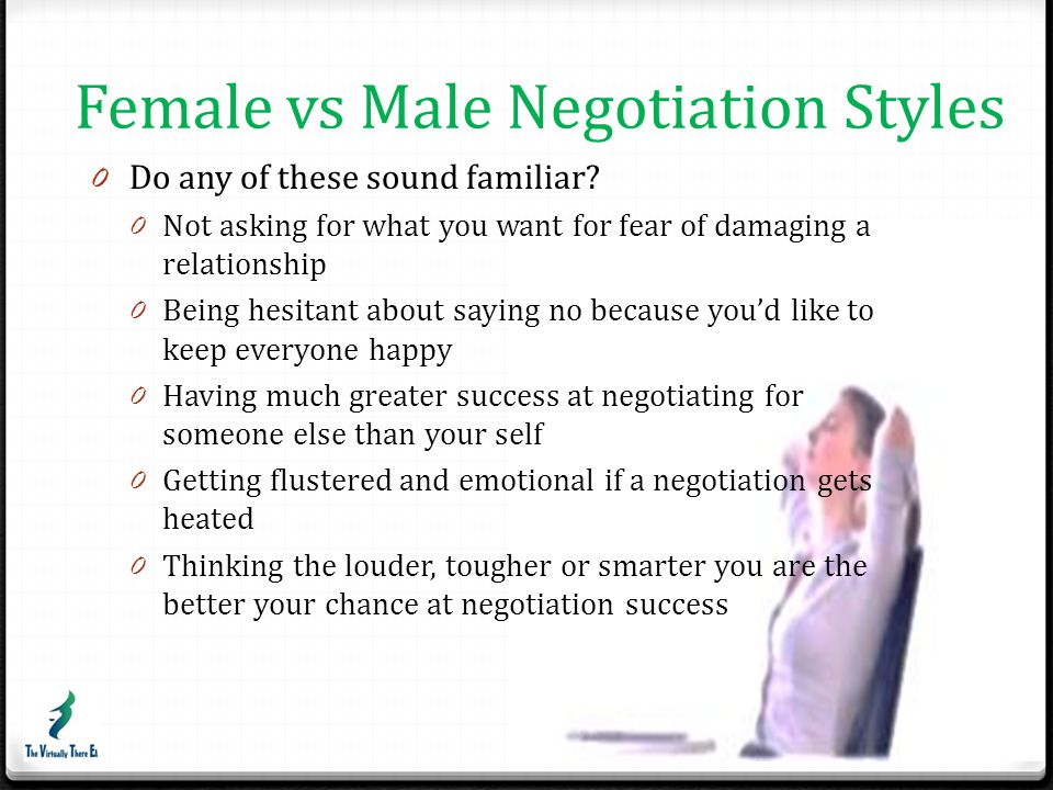 Men & Women have different negotiation styles 0 Women value relationships over outcome 0 Men leverage relationships to achieve goals 0 Women make decisions based on what they feel they need rather than what they are worth 0 Men are more likely to ask for what they want 0 Women are more likely to wait to be recognised 0 Men talk for longer and interrupt more often.