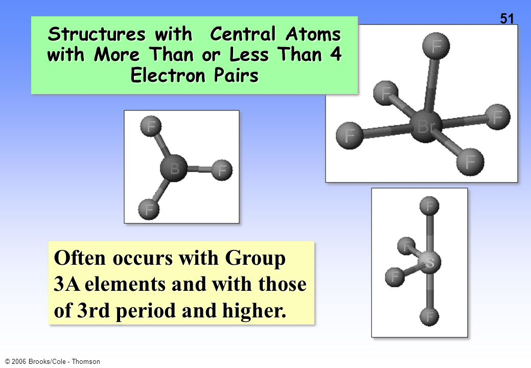 51 © 2006 Brooks/Cole - Thomson Structures with Central Atoms with More Than or Less Than 4 Electron Pairs Often occurs with Group 3A elements and with those of 3rd period and higher.