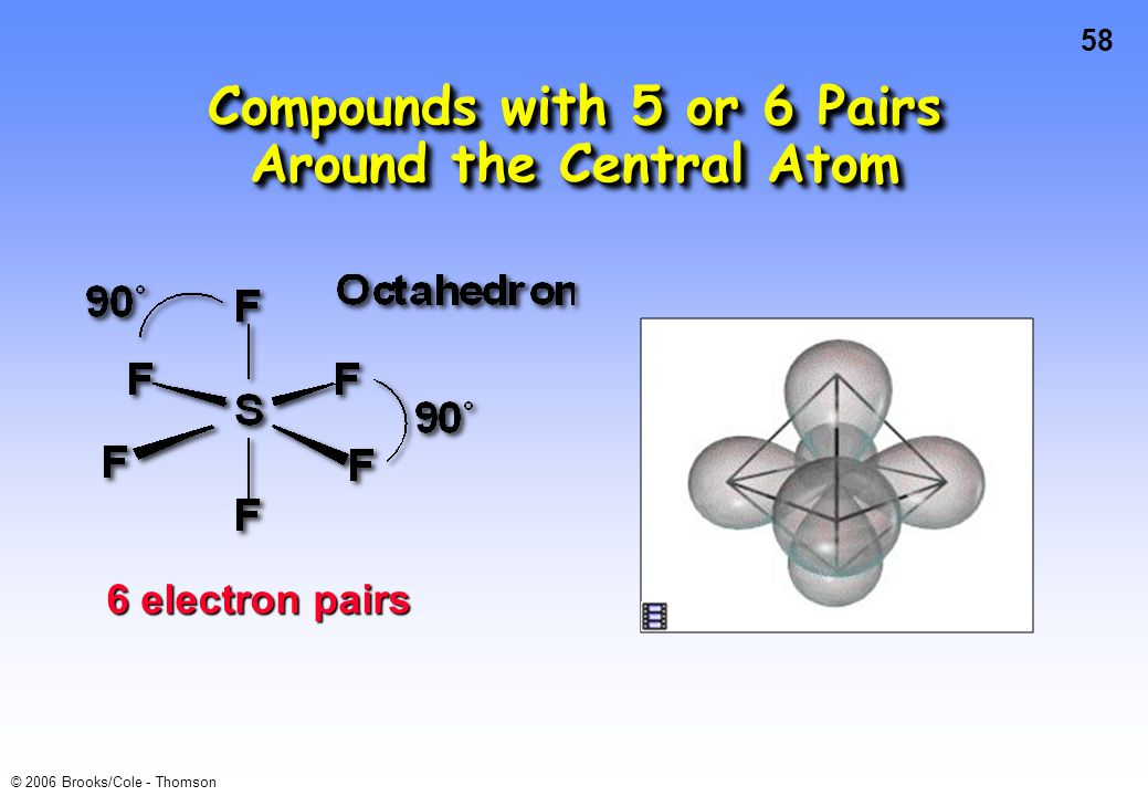 58 © 2006 Brooks/Cole - Thomson 6 electron pairs Compounds with 5 or 6 Pairs Around the Central Atom