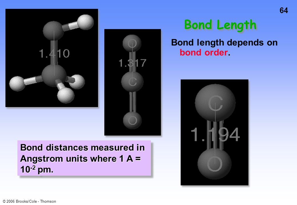 64 © 2006 Brooks/Cole - Thomson Bond length depends on bond order.