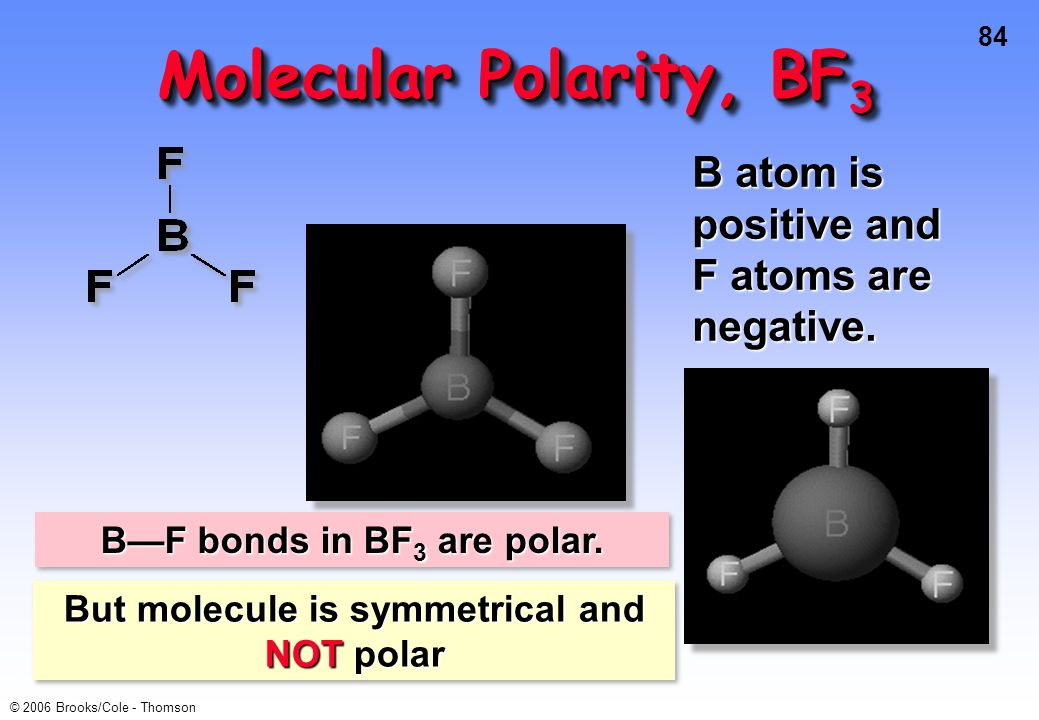 84 © 2006 Brooks/Cole - Thomson Molecular Polarity, BF 3 B atom is positive and F atoms are negative.